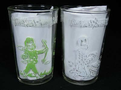 VINTAGE 1950's HOWDY DOODY SWANKY WELCH'S JELLY DRINKING GLASS CUP PAIR OF 2