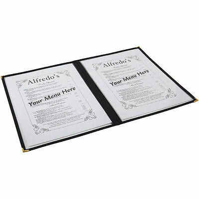 American Style Menu Cover Holder A4 4 Sided Black Gold Corners Clrear Heavy Duty