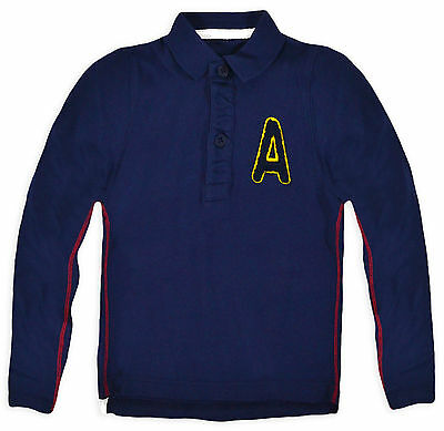 Boys Polo Shirt New Baby Long Sleeved T Shirt 100% Cotton Top Navy 9 - 12 Months