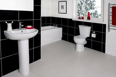 NEW Modern Full Bathroom Suite with Bath, Toilet + Basin - With or Without Taps
