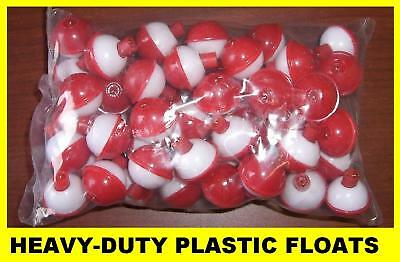 "50 FISHING BOBBERS Round Floats 3/4"" RED & WHITE SNAP ON FREE USA SHIP 07120-001"
