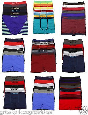 6pk Mens Seamless Athletic Compression Boxer Briefs Shorts Underwear One Size #O