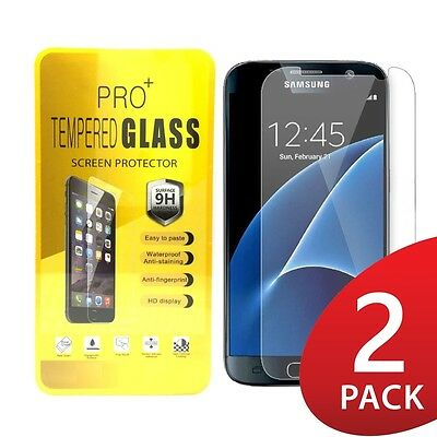 2X (2 Pack) Premium Clear Tempered Glass Screen Protector for Samsung Galaxy S7