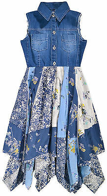 Girls Sleeveless Floral Denim Dress New Kids Blue Party Summer Dresses 2-10 Yrs