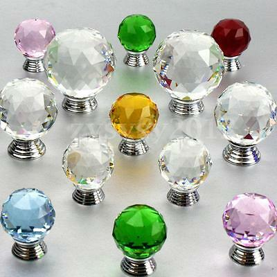 30/40mm Crystal Glass Door Knobs Cabinet Drawer Furniture Kitchen Handle Pull