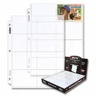 10 - 8 Pocket Card / Page Protectors - made by BCW  Pro8T  fits 3 ring binder