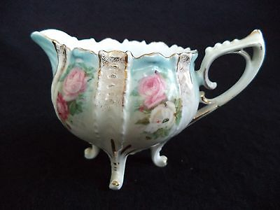 Rare RS Prussia china sm creamer cream pitcher 4 feet mold 702 pink roses gold