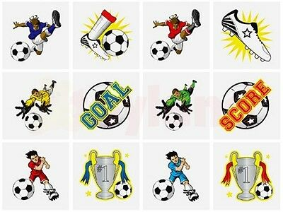 24 x FOOTBALL TEMPORARY TATTOOS BOYS FAVORS PRIZE FUN BIRTHDAY PARTY BAG FILLERS