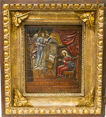 Old Antique Italian Carved Icon of Annunciation, 16th-18th c