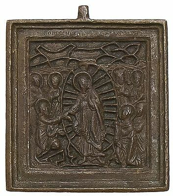 Old Antique Russian Bronze Icon of Resurrection, 19th c