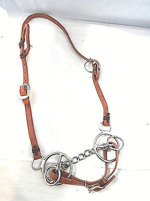 New Billy Cook Leather One Ear Headstall Spotted Horse Conchos Tack CHN Flaired