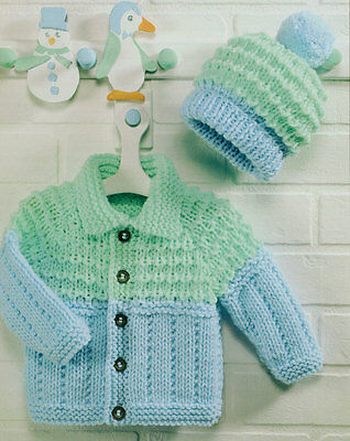 "Baby Chunky Jacket with Collar & Bobble Hat 18"" - 26"" Knitting Pattern"