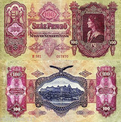 HUNGARY 100 Pengo Banknote World Paper Money Currency p98 1930 BILL USED F+ Note
