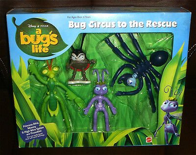 A Bug's Life 4 pack Play Set 4 Figures Pixar New MIB  Bug Circus rescue 1998 fun