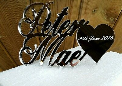 Our stunning entwined names with heart   Wedding cake Toppers