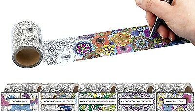 Kikkerland 5 Designs Colour Your Own Washi Masking Tape Fun Colouring Gift Tape
