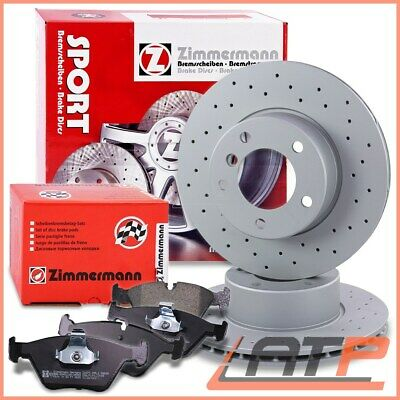 Zimmermann Sport Brake Disc Coat Z Vented Drilled + Pads Front Bmw 5 Series E39