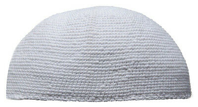 White Hand-crocheted Cotton Crochet Kufi Muslims Head Cover Skull Cap Large 23""