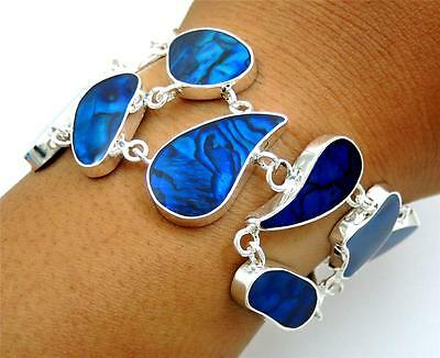 Natural Blue Paua Abalone Shell 925 Sterling Silver Bracelet Women Jewelry SB081