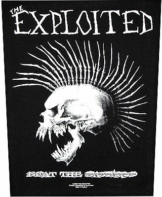 """XLG """"The Exploited Beat The B@$*@%^$"""" Punk Rock Band Sew On Applique Back Patch"""