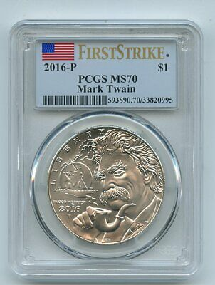 2016 P $1 Mark Twain Silver Uncirculated Commemorative PCGS MS70 First Strike