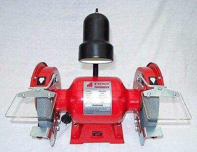 """8"""" Bench Grinder 1 HP with Work Light - 2950rpm incl Fine & Coarse Wheels"""