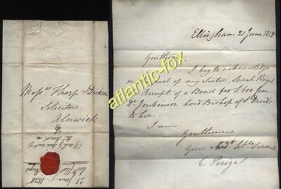 1828 REVEREND CHARLES PERIGAL of Ellingham letter to Alnwick re £600-Bond