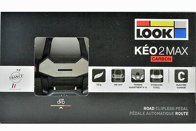 NEW 2017 LOOK KEO 2 Max CARBON Road Cycling Pedals & Gray Grip Cleats/Bolts