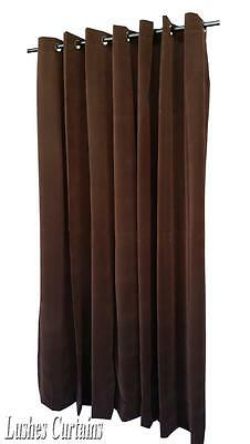 Brown 120 inch Long Velvet Curtain Panel w/Anneau Grommet Eyelet Top Window