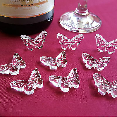 Personalised Butterfly Wedding Table Decorations, Mr Mrs Acrylic Scatter Favours
