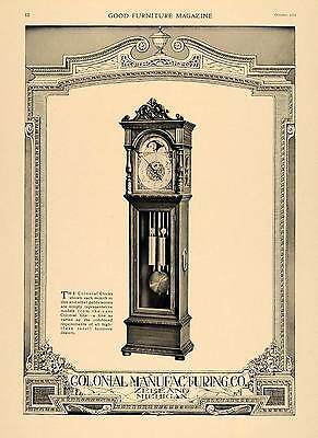 1919 Ad Colonial Manufacturing Grandfather Clocks Wood - ORIGINAL GF1