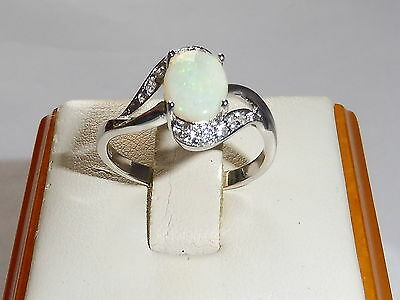 Ladies Hallmarked Sterling 925 Solid Fine Silver White Sapphire and Opal Ring