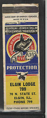 1950s ELGIN ILL MOOSE LODGE 799 MATCHBOOK COVER
