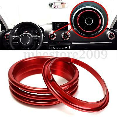 4Pcs Car Interior Red Vent Outlet Rings Cover Trim Stainless Steel For Audi A3