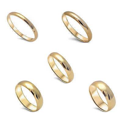 2MM-6MM Yellow Gold Plated 925 Solid Sterling Silver Wedding Bands Sizes 2-13