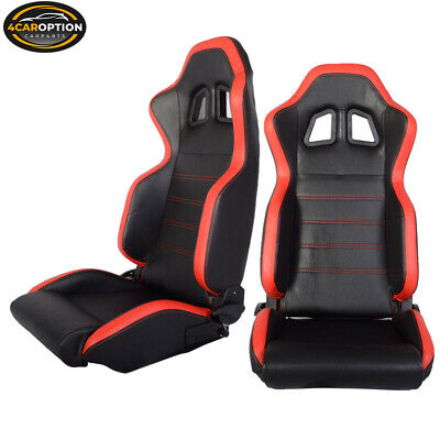 Pair Of Black Red Pvc Leather Full Reclinable Racing Seats + Slider Left Right