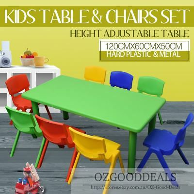 Large Kids Toddler Children Activity Table and 8 Chair Chairs Green 120x60cm L