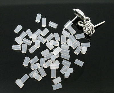 100 PCS 50 Pairs Rubber Silicone Tube Earring Post Plug Back Backing Stopper 4mm