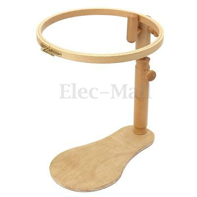 Adjustable Sit-on Beech Wooden Round Embroidery Lap Frame Cross-stitch Lap Frame