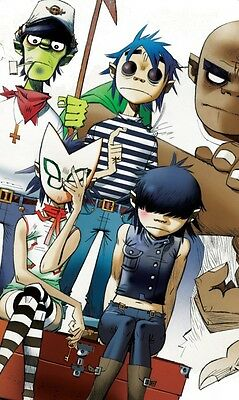 "Gorillaz Music Band Group Fabric Poster 21"" x13""  Decor 09"