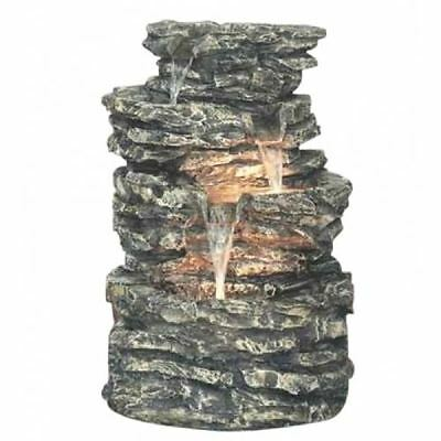 Small Four Pool Rock Solar Powered Water Feature Garden Fountain