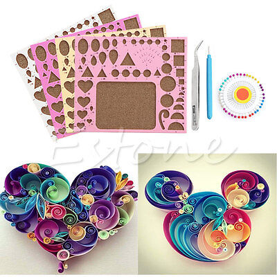 New 1PC Paper DIY Quilling Tool Set Template Mould Board +Tweezer +Pins +Slotted