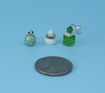 Gorgeous Set of 3 Dollhouse Miniature Perfume Bottles for your Vanity #PS10