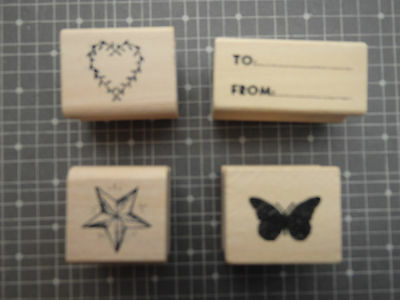 East of india rubber stamps crafts gift tag loveheart butterfly star to from