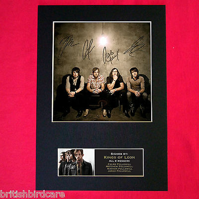 KINGS OF LEON Mounted Signed Photo Reproduction Autograph Print A4 197