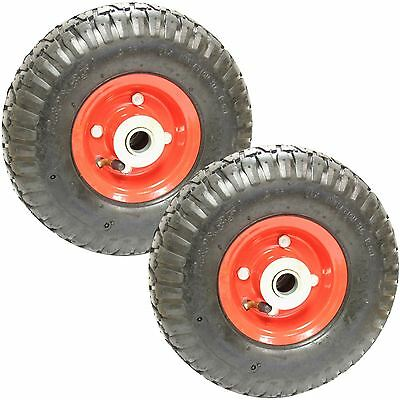 "Pair 10"" Sack Truck Pneumatic Spare Wheel Tyre Red Trolley Cart"