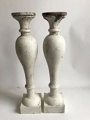 Two(2) RECLAIMED Wood SHABBY Candle Stand  White Balusters Vintage A1