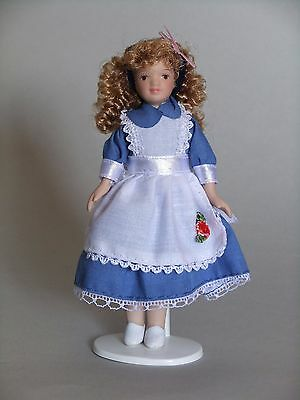 "1/12Th  Dolls House  "" Victorian""  Girl  In  Blue ""alice"" Dress"