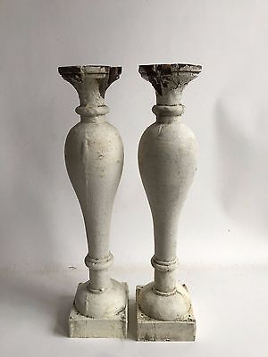 Two(2) RECLAIMED Wood SHABBY Candle Stand White Balusters Vintage A4