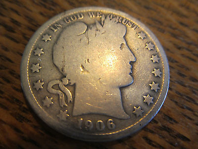 1906 O Barber Silver Half Dollar Only 505,000 Made - Free Shipping